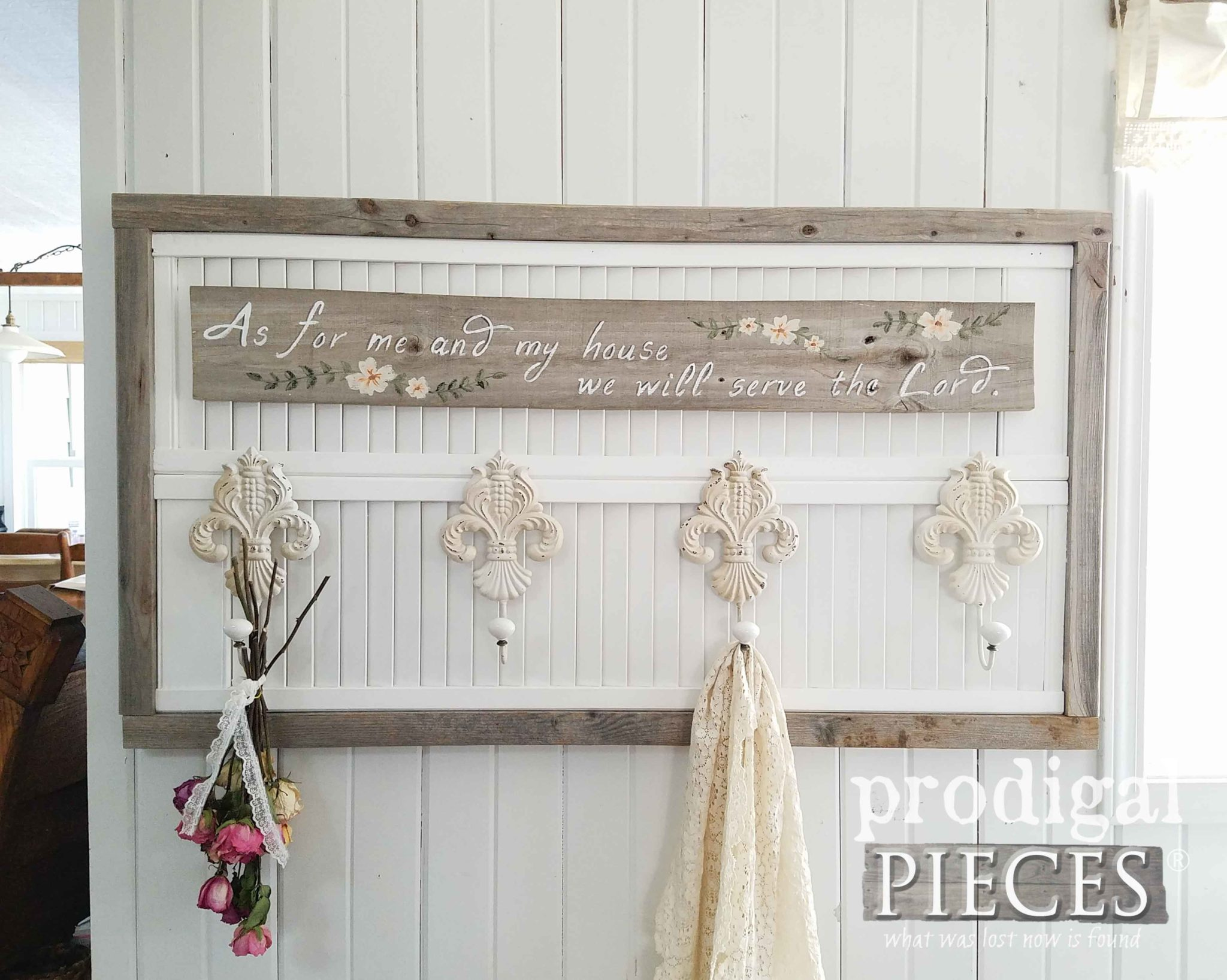 Rustic Chic Coat or Towel Rack with As for Me and My House We Will Serve the Lord | by Prodigal Pieces | prodigalpieces.com