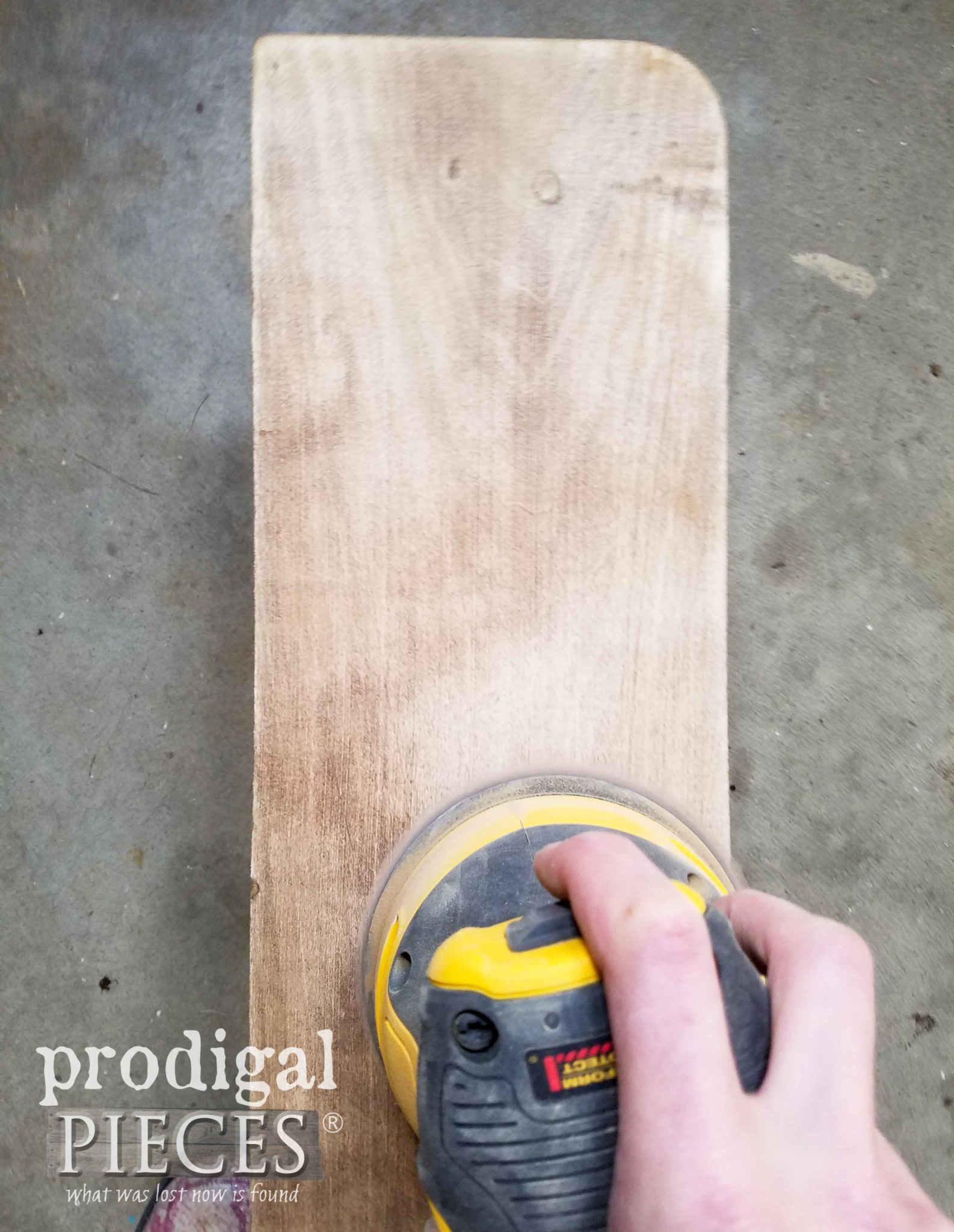 Sanding Wooden Shelf with DeWalt Orbital Sander | prodigalpieces.com