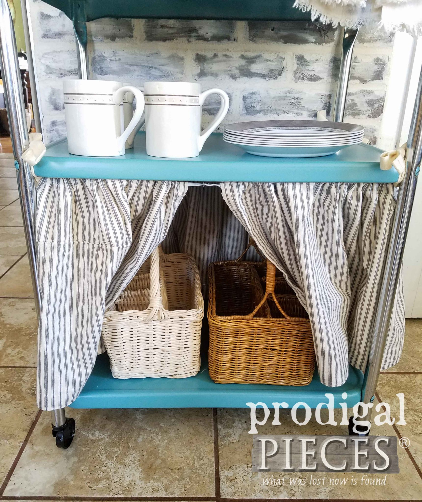 Cottage Farmhouse Style Serving Cart with Dust Ruffle and Baskets for Extra Storage by Larissa of Prodigal Pieces | prodigalpieces.com