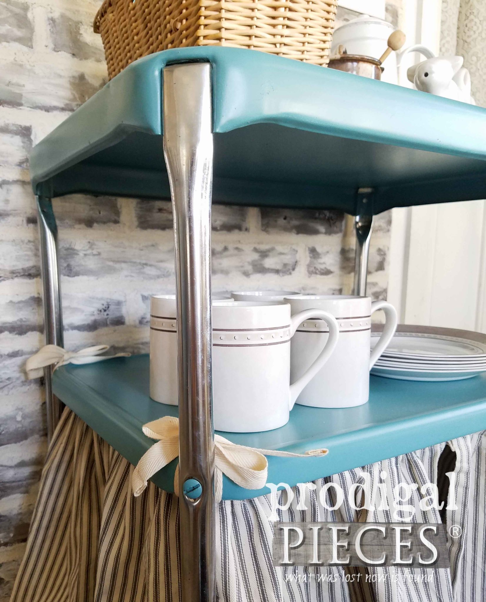 Skirted Cosco Serving Cart Redo by Larissa of Prodigal Pieces | prodigalpieces.com
