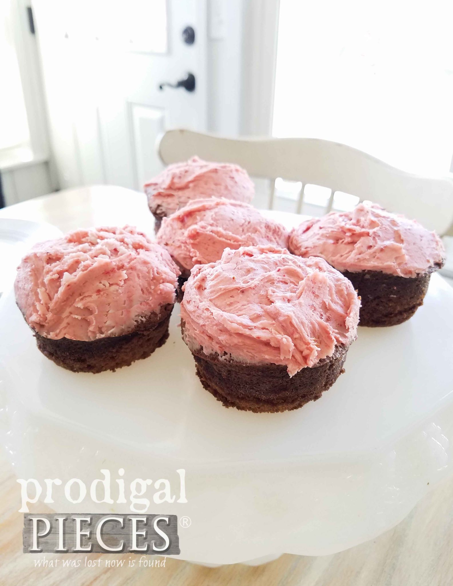 Real Strawberry Frosting on Grain-Free Chocolate Cupcakes by Larissa of Prodigal Pieces | prodigalpieces.com