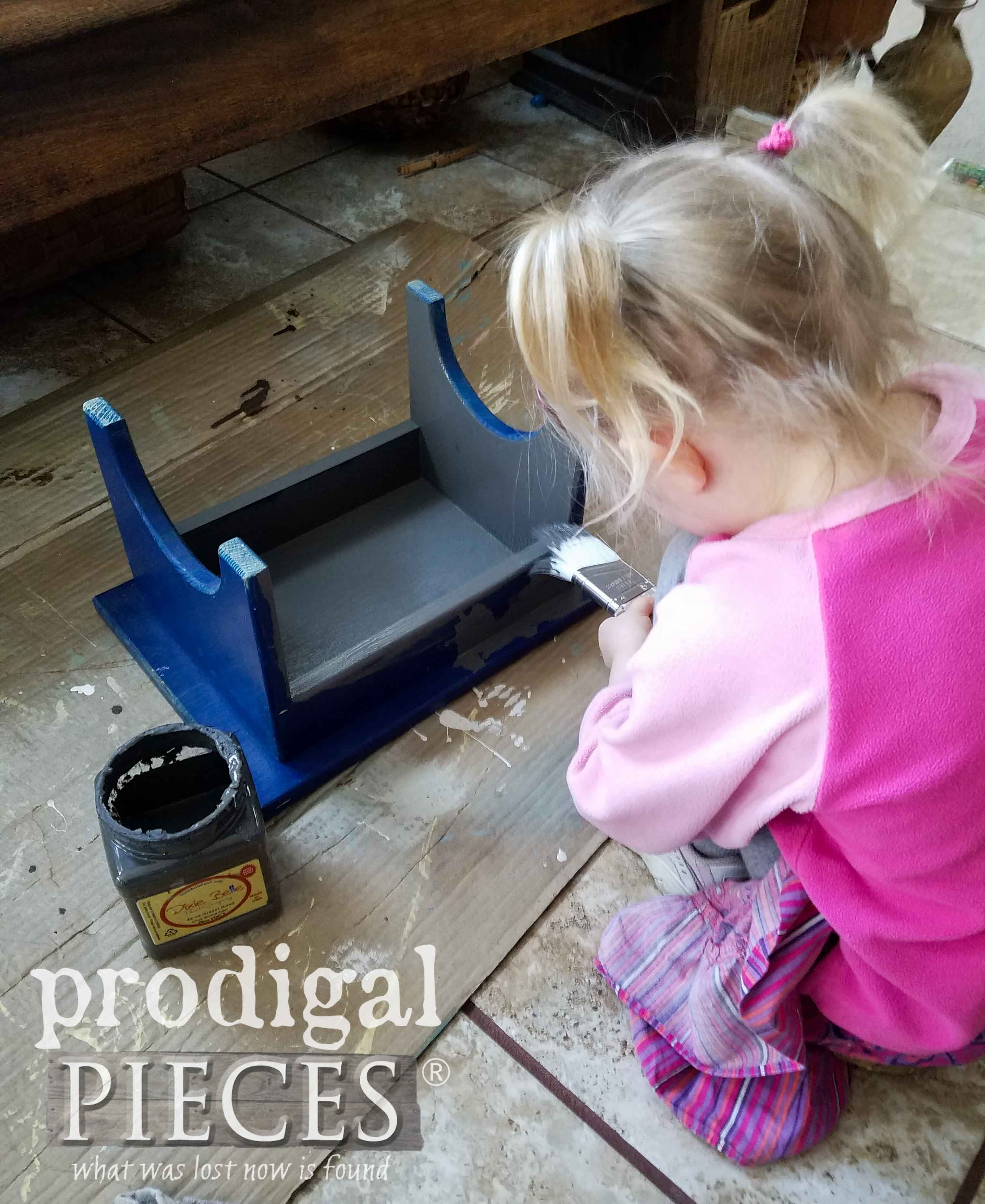 Toddler Painting Farmhouse Footstool by Prodigal Pieces | prodigalpieces.com
