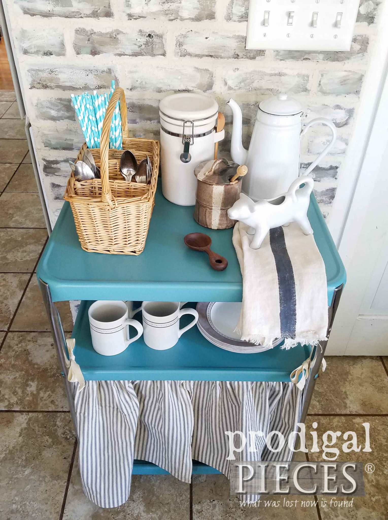 Vintage Teal Cosco Serving Cart with DIY Dust Ruffle by Larissa of Prodigal Pieces | prodigalpieces.com