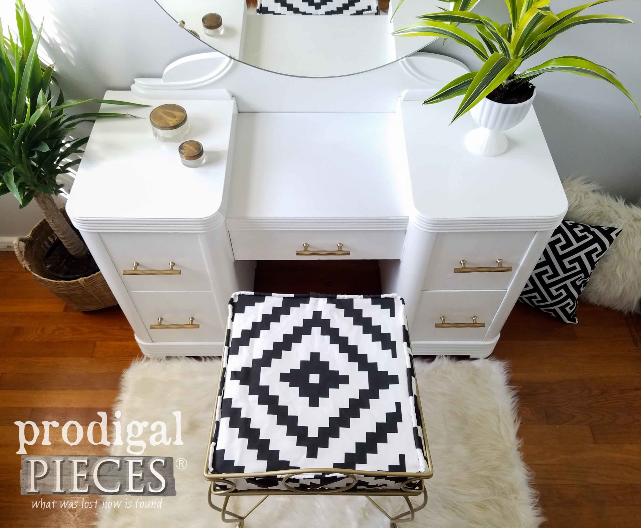 Gorgeous Vintage Art Deco Vanity Restored with Boho Chic Style by Larissa of Prodigal Pieces | prodigalpieces.com