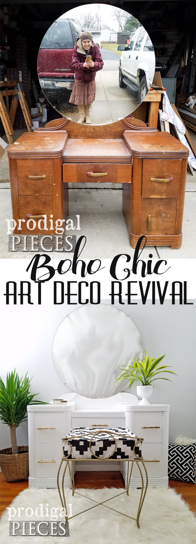 Oh my! This sad looking Art Deco vanity got a new lease on life with TLC by Larissa of Prodigal Pieces. Boho Chic is the new style and looks oh so good. DIY details at Prodigal Pieces | prodigalpieces.com
