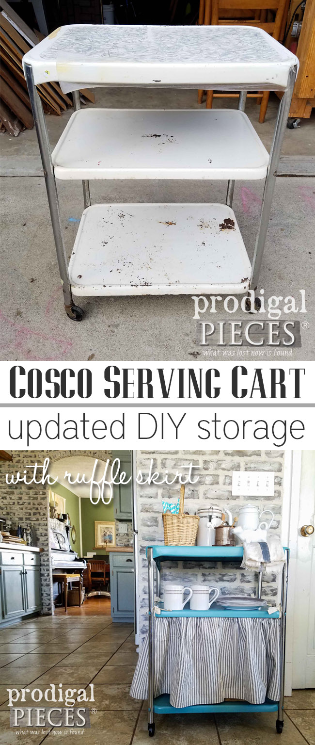 Want to add storage to your home? Get your DIY on and Update a Vintage Cosco Serving Cart for Kitchen, Bath, Laundry, and even Bedroom! Get the step-by-step tutorial at Prodigal Pieces | prodigalpieces.com