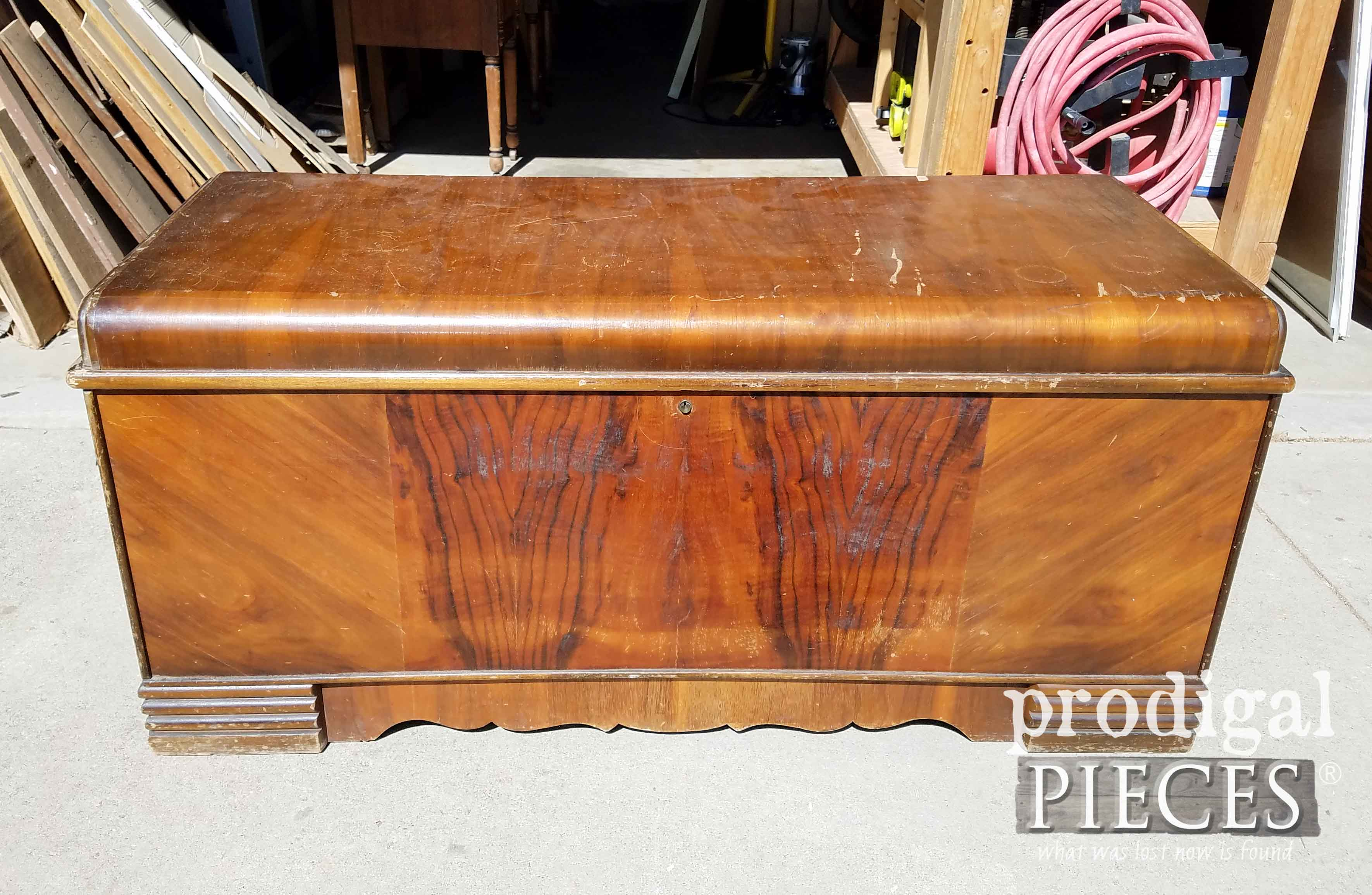 Vintage Waterfall Hope Chest Before Makeover by Prodigal Pieces | prodigalpieces.com