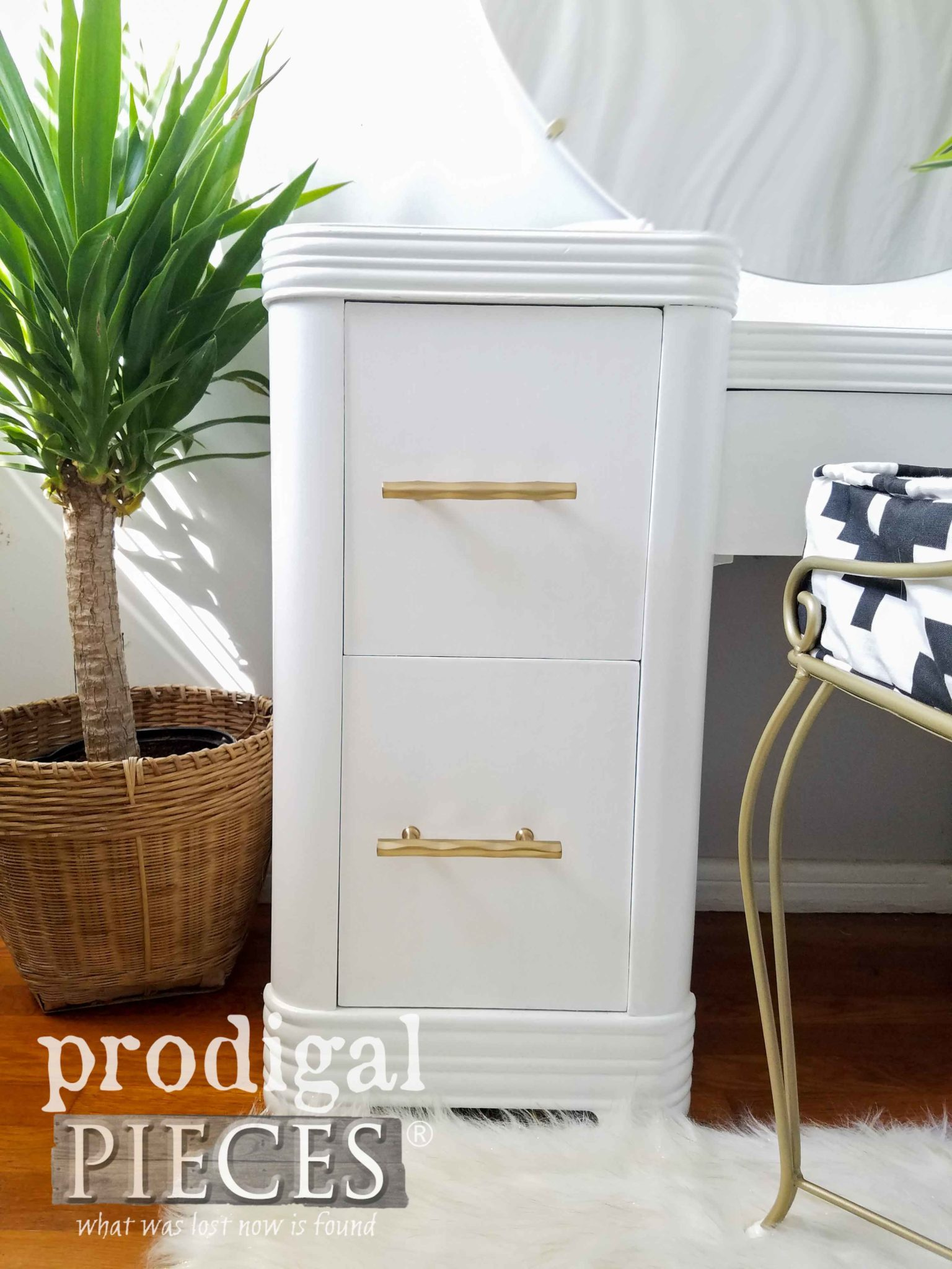 White Boho Chic Art Deco Vanity with Brass Pulls by Larissa of Prodigal Pieces | prodigalpieces.com