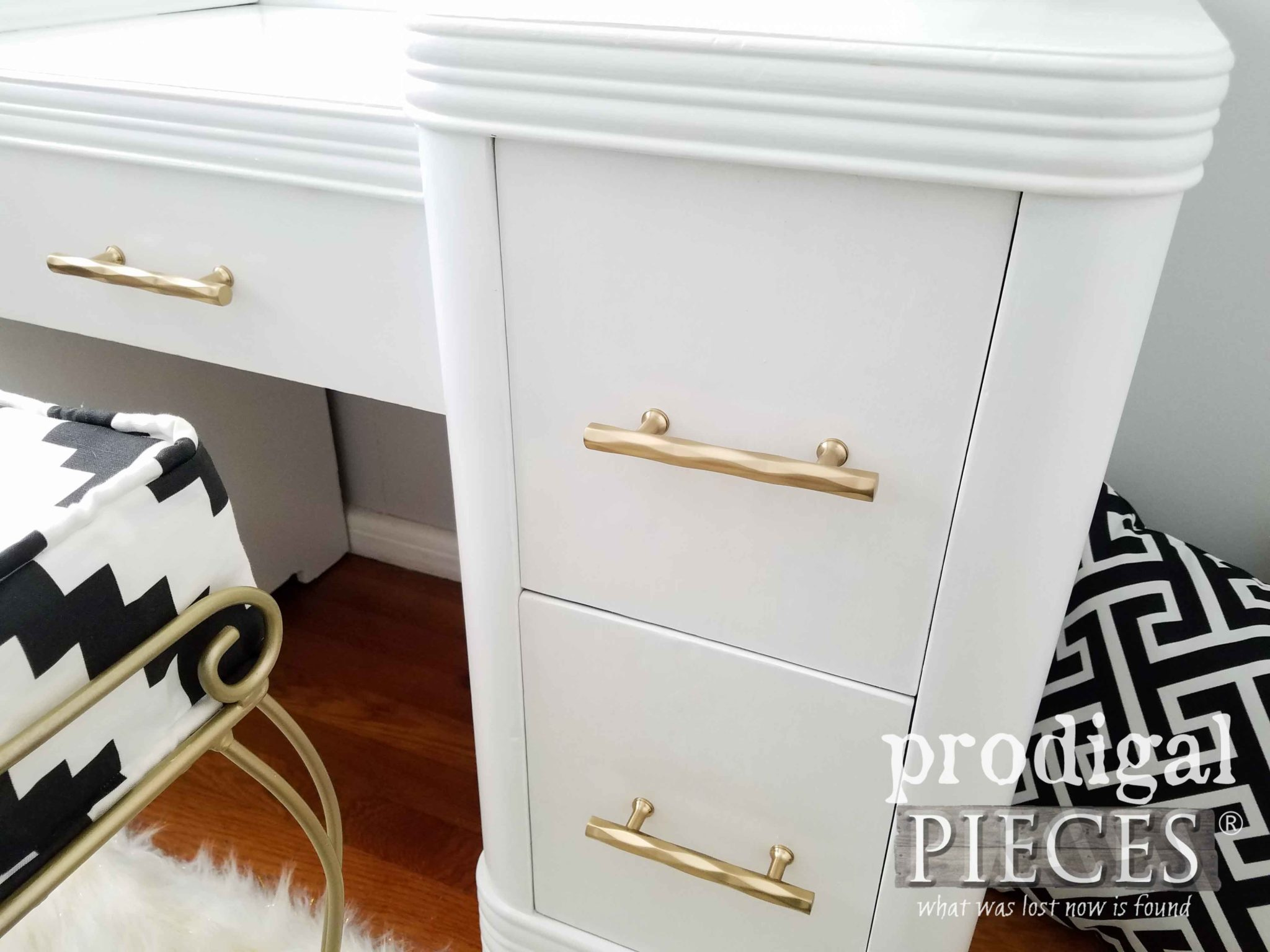 White Vintage Art Deco Dressing Table with Brass Pulls by Prodigal Pieces | prodigalpieces.com