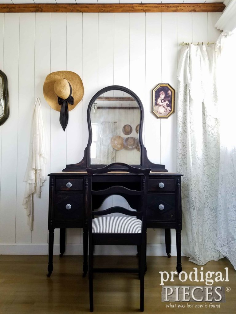 Rustic Chic Farmhouse Antique Vanity Set in Black with Ticking Stripe Upholstery by Larissa of Prodigal Pieces | prodigalpieces.com
