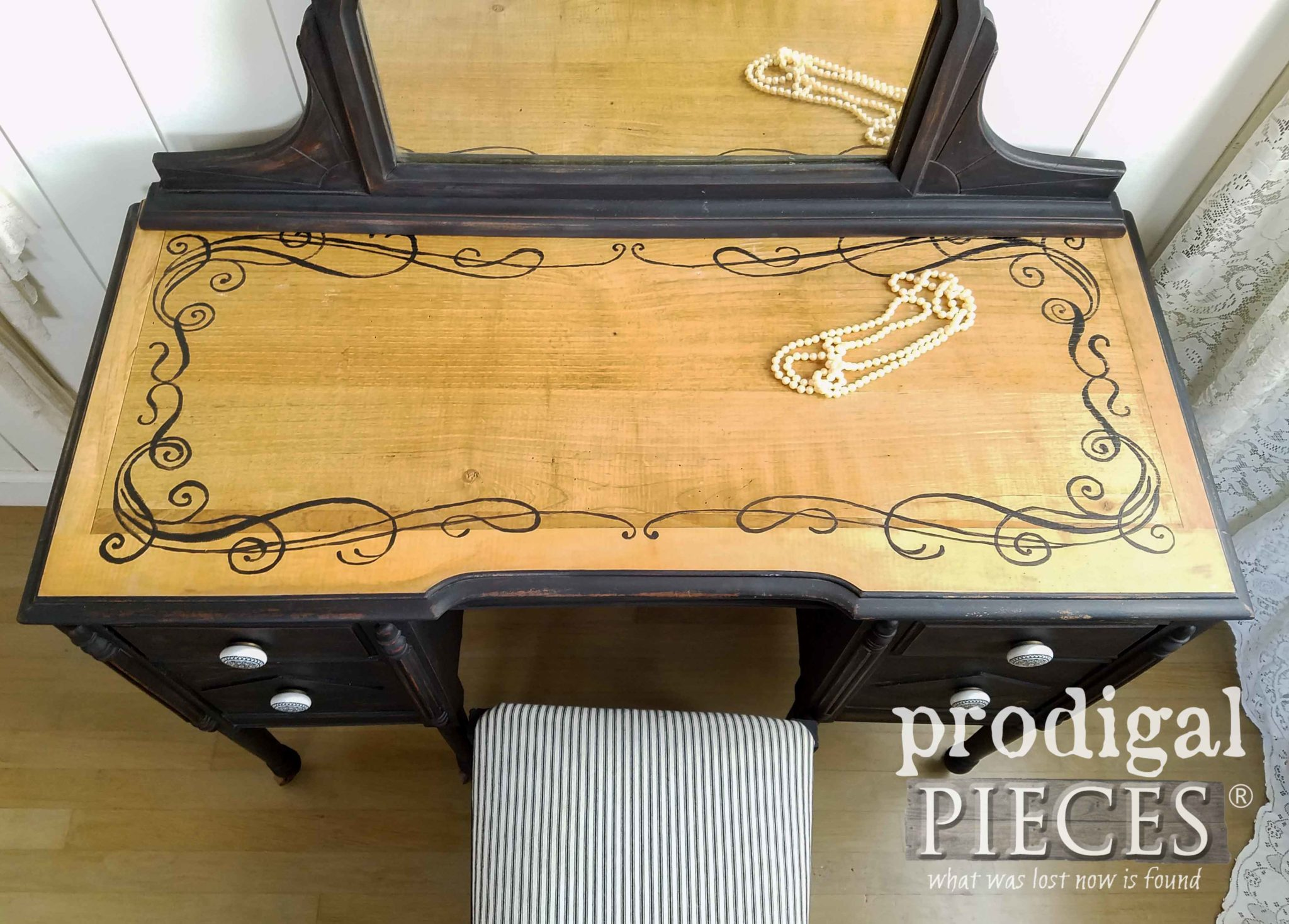 Antique Vanity Top with Hand-painted Scrollwork Design by Larissa of Prodigal Pieces | prodigalpieces.com