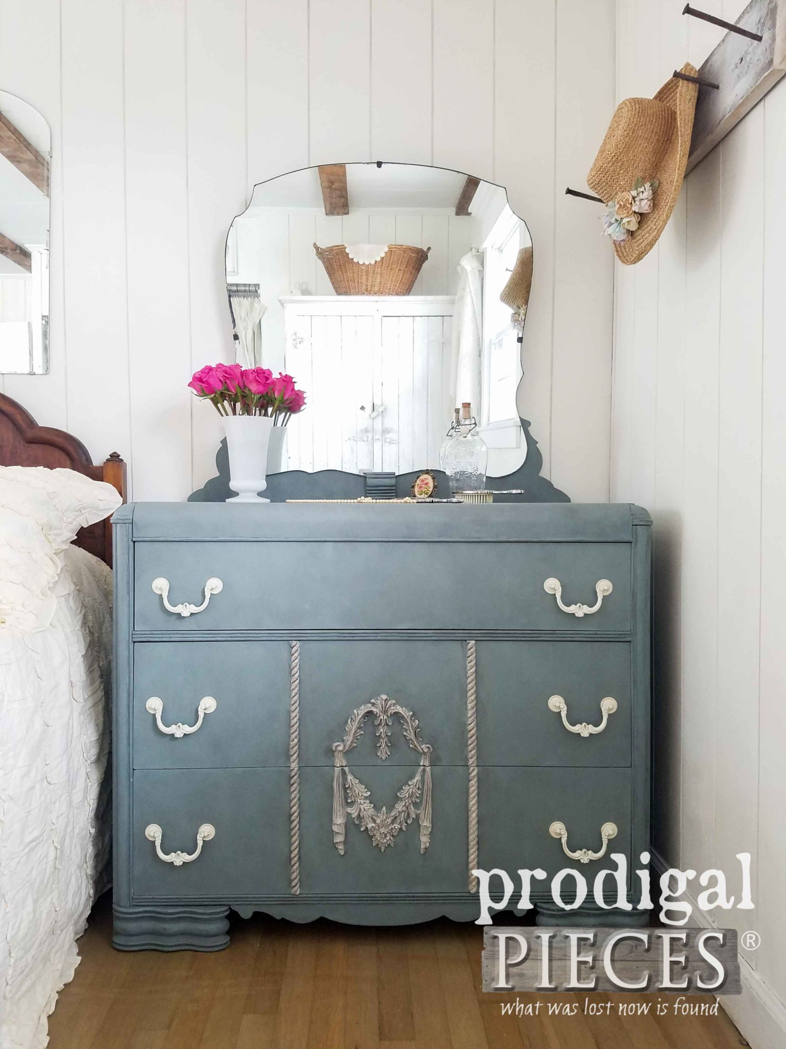 Art Deco Mirrored Dresser in Vintage Duck Egg with Grunge Gray Wax by Prodigal Pieces | prodigalpieces.com