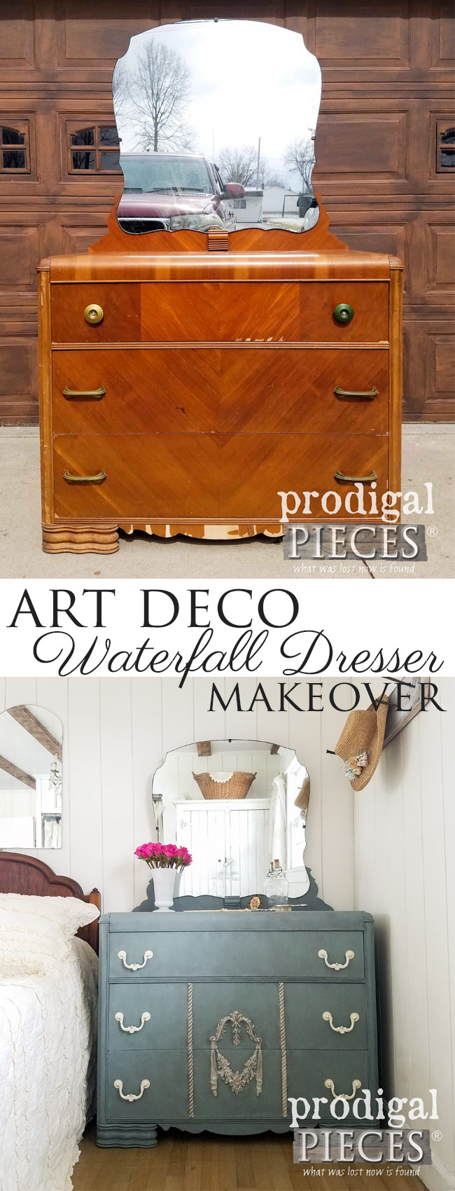 This vintage Art Deco waterfall dresser got a fresh new look by a tween girl. It really can be fun to DIY! See the details at Prodigal Pieces | prodigalpieces.com