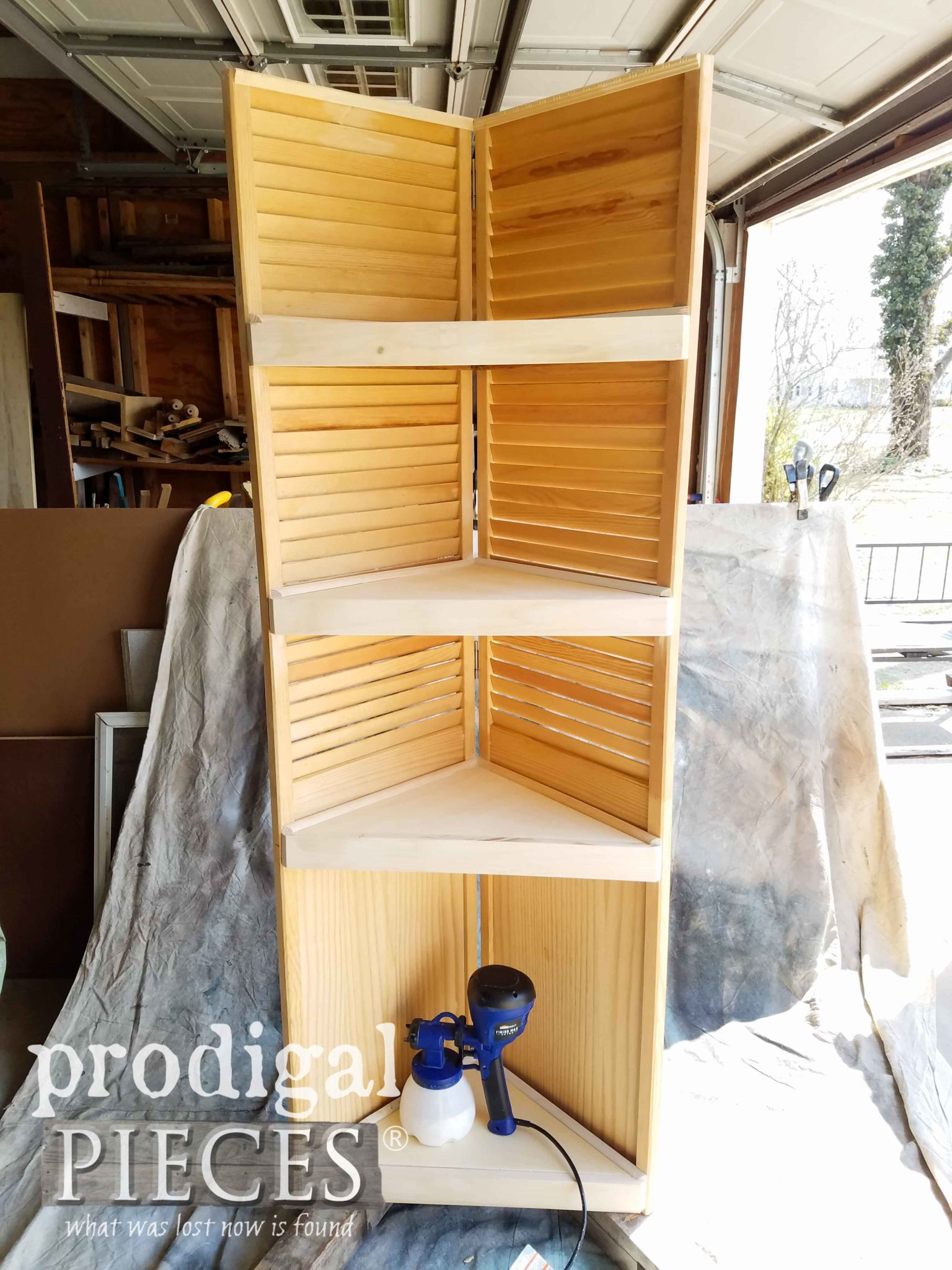 Assembled Upcycled Louver Door Corner Cabinet by Larissa of Prodigal Pieces | prodigalpieces.com