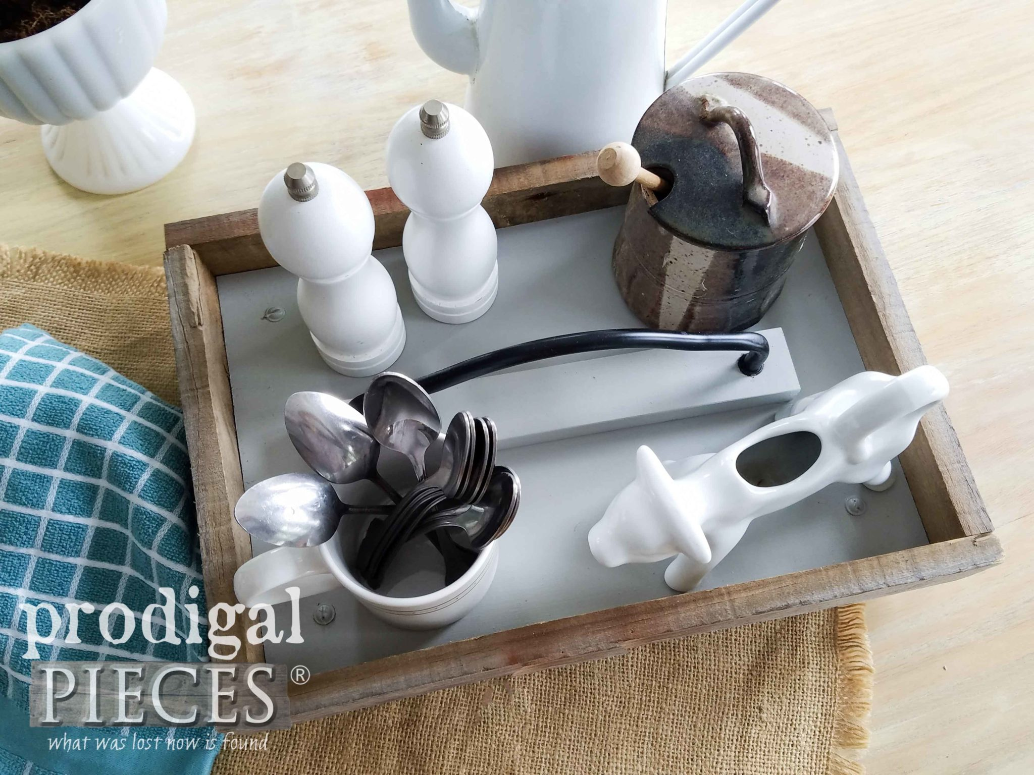 Farmhouse Barn Wood Tray for Centerpiece, Toiletries, Kitchen Decor by Larissa of Prodigal Pieces | prodigalpieces.com