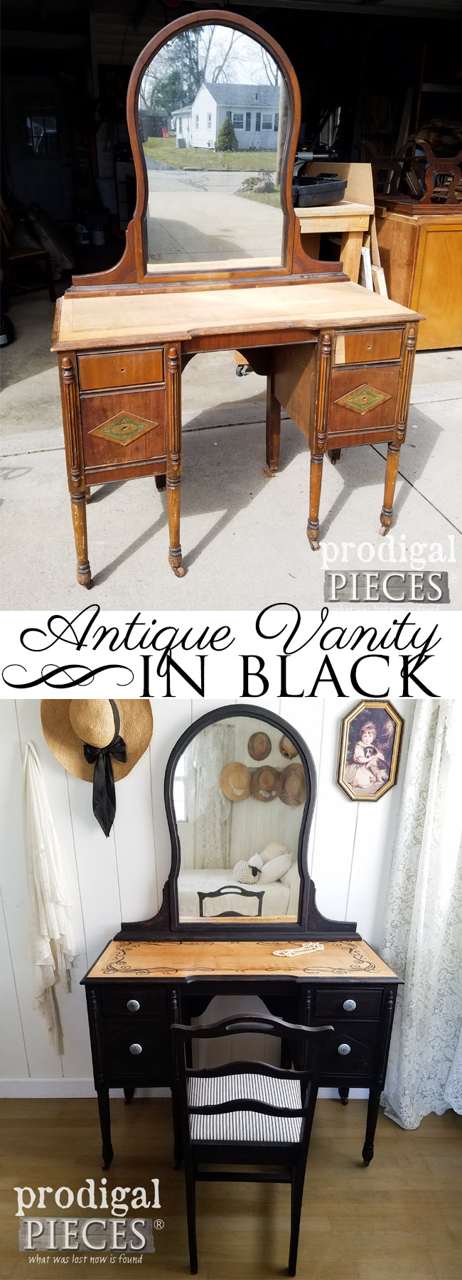 This worn and raw vanity needed a new lease on life. Larissa of Prodigal Pieces ran with the feel of it and turned it into a gorgeous black antique vanity. See the details at prodigalpieces.com