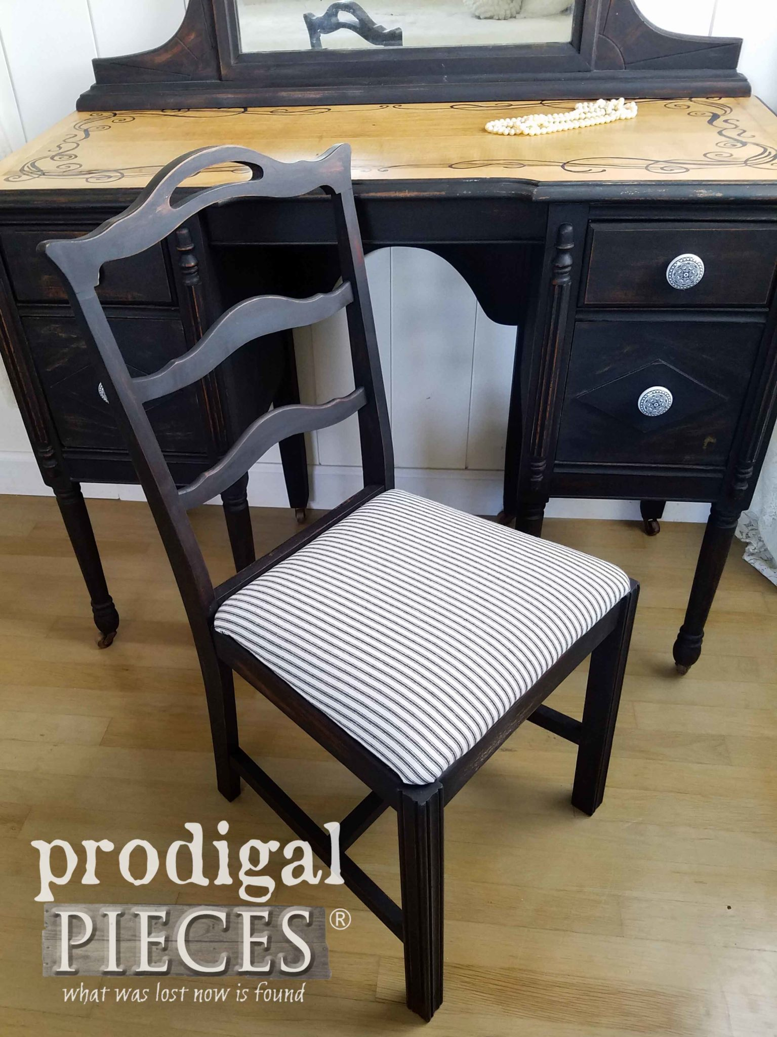 Black Farmhouse Ticking Fabric as Upholstery on Antique Vanity Chair by Larissa of Prodigal Pieces | prodigalpieces.com