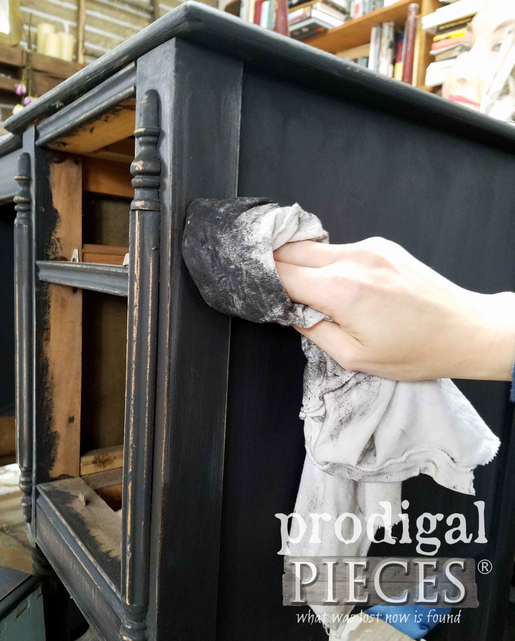 Black Wax for Topcoat of Dixie Belle Caviar on Black Antique Vanity by Larissa of Prodigal Pieces | prodigalpieces.com