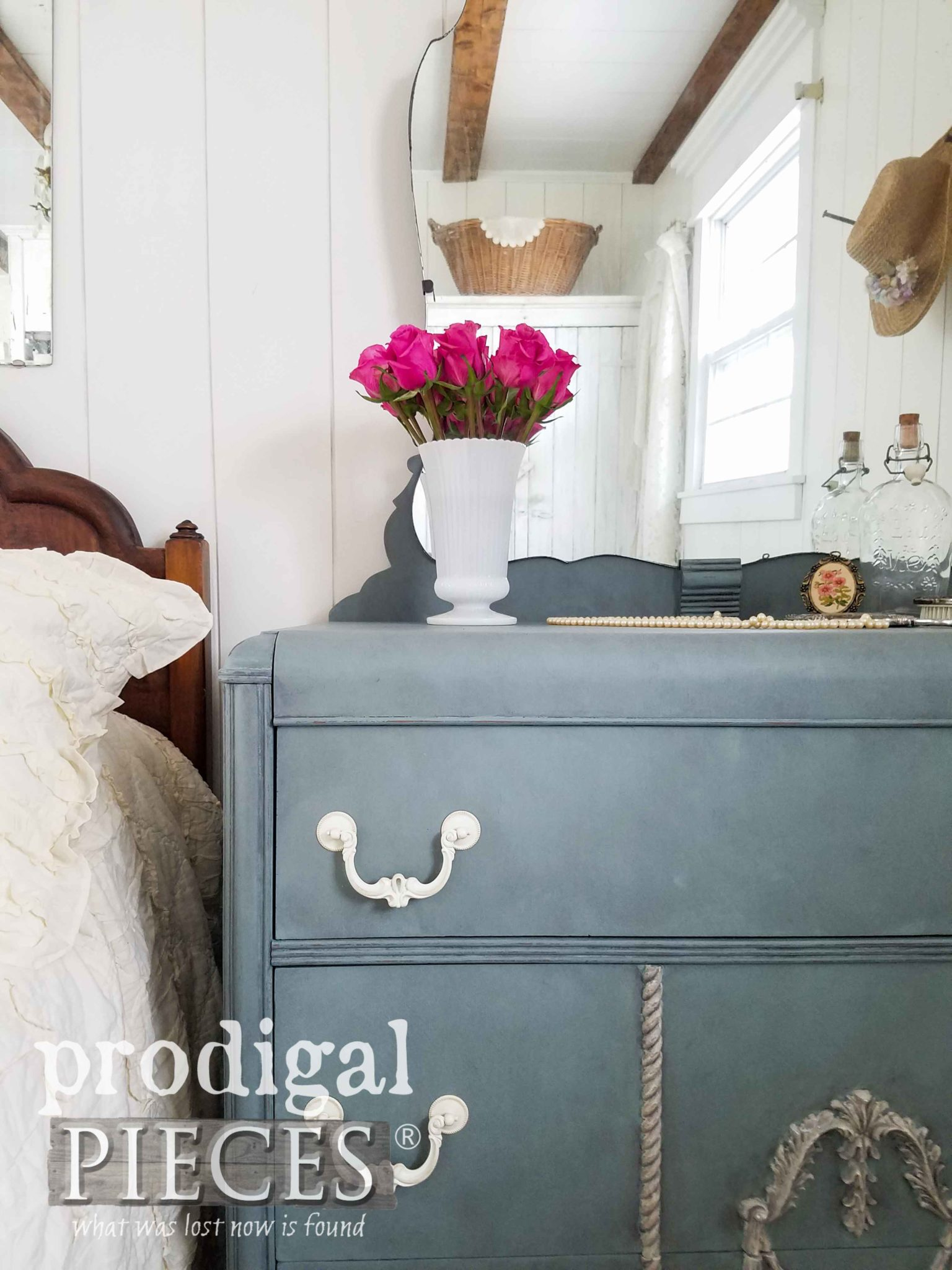 Vintage Duck Egg on Art Deco Waterfall Dresser by Prodigal Pieces | prodigalpieces.com