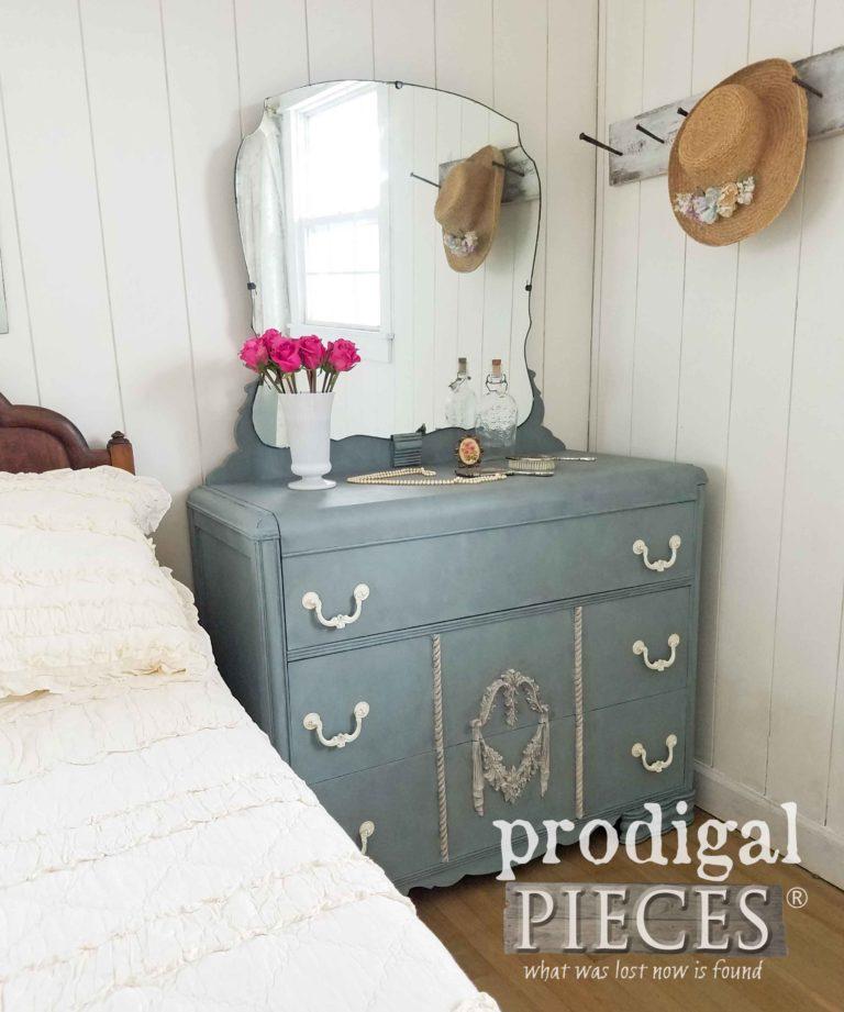 Beautiful Blue Art Deco Dresser with Mirror by Prodigal Pieces | prodigalpieces.com