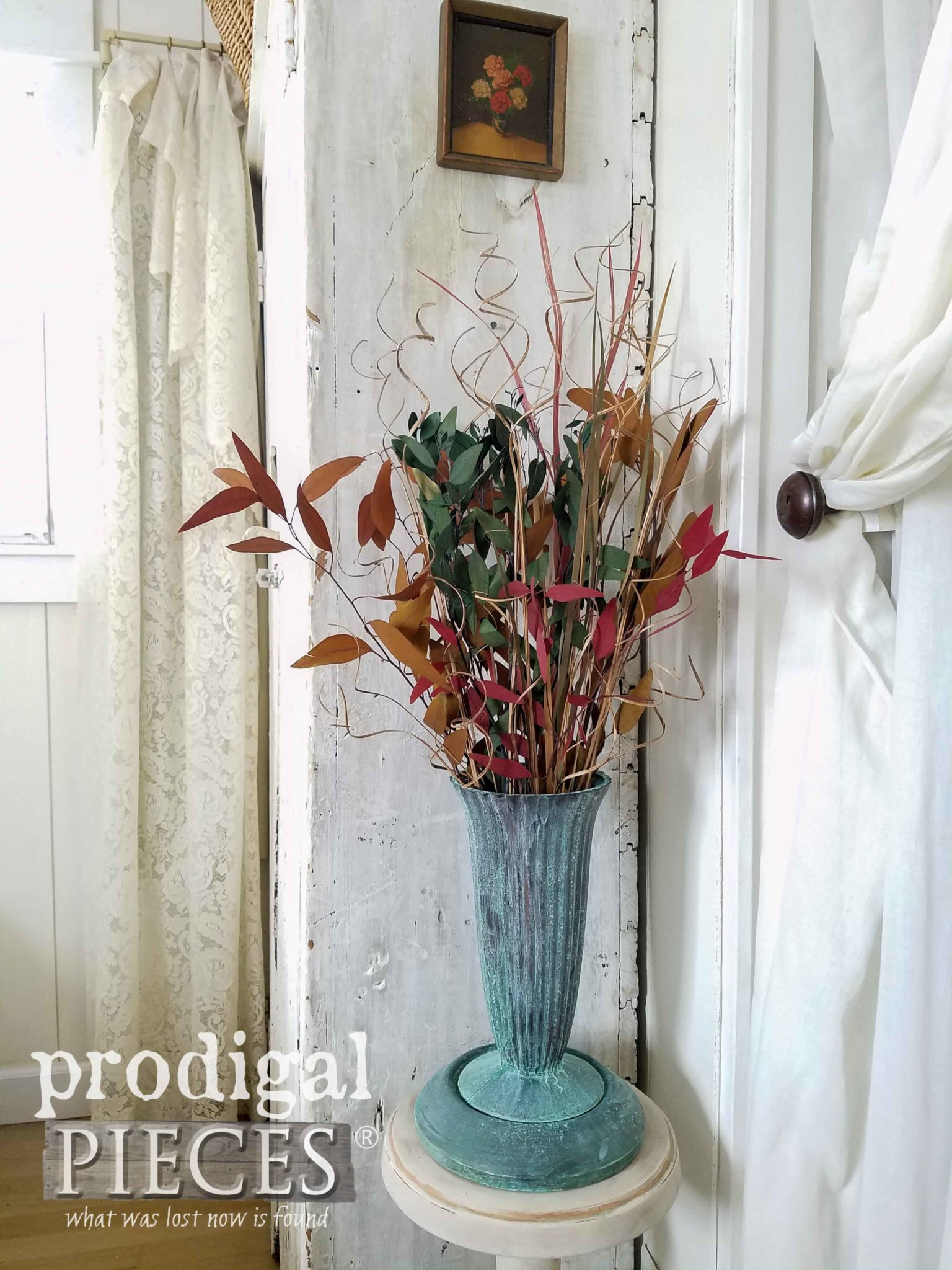 Faux Bronze Patina Paint Glass Vase by Larissa of Prodigal Pieces | prodigalpieces.com