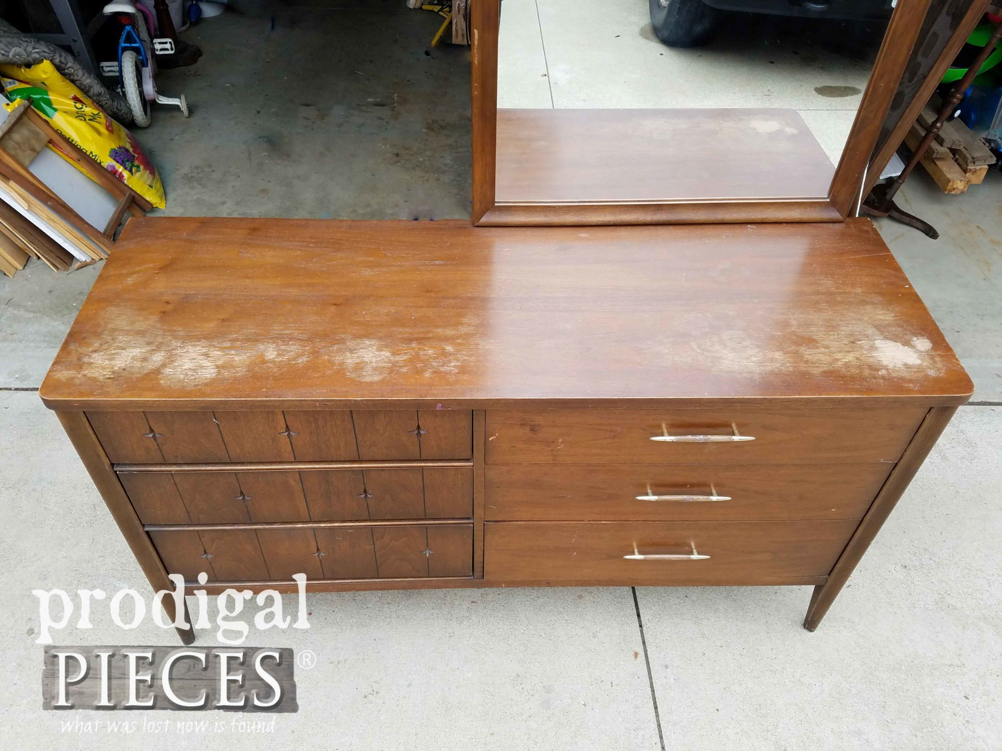 Broyhill Dresser Top Worn and Aged | prodigalpieces.com