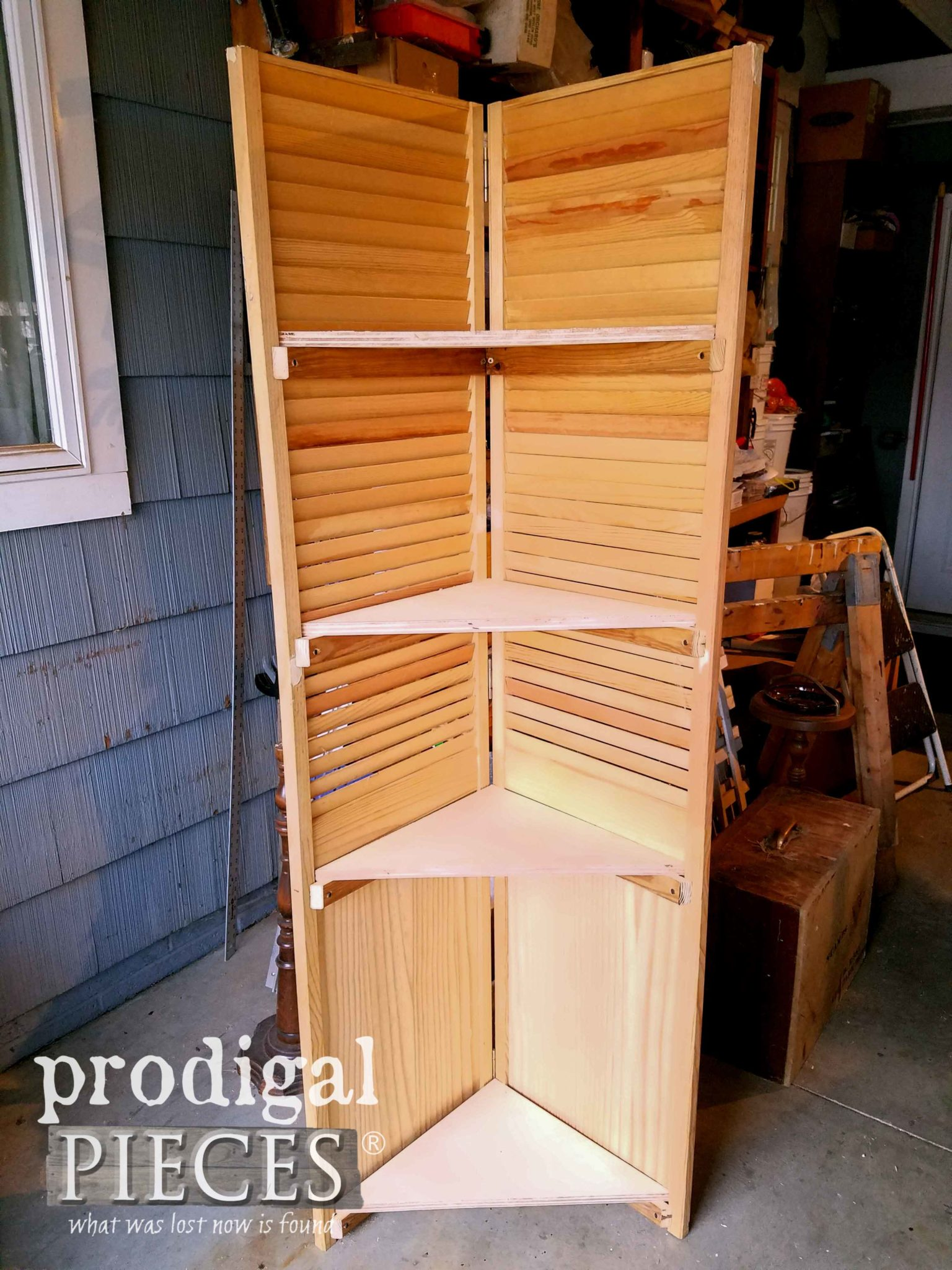 Building Corner Shelf from Upcycled Louver Doors by Larissa of Prodigal Pieces | prodigalpieces.com