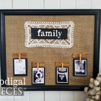 Farmhouse Family Sign Photo Holder with Burlap and Vintage Doily by Larissa of Prodigal Pieces | prodigalpieces.com