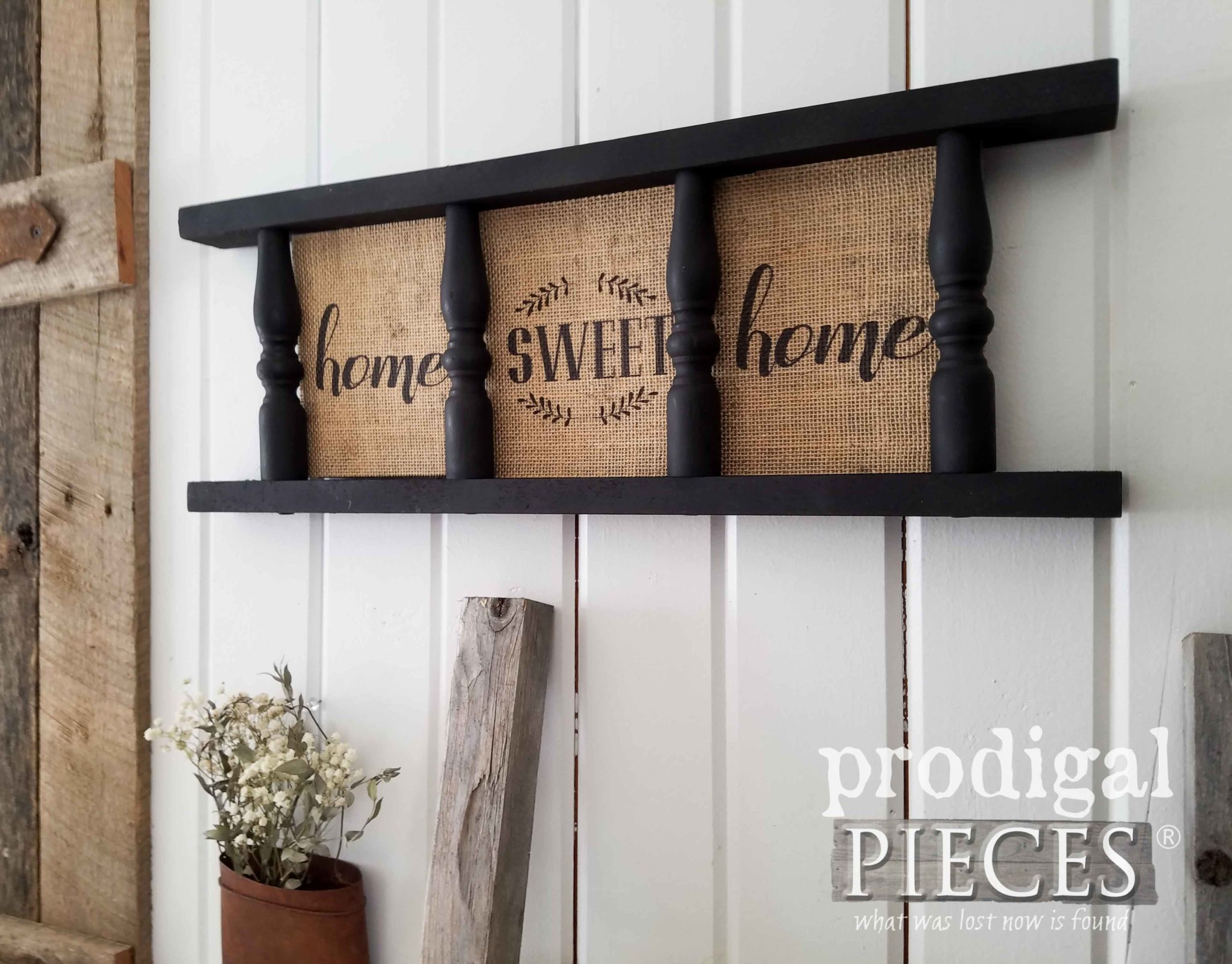"Repurposed Farmhouse Burlap Wall Art with ""Home Sweet Home"" Text by Larissa & Son of Prodigal Pieces 