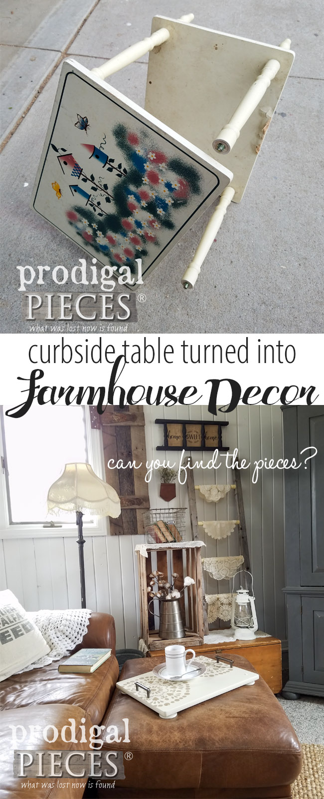 Isn't it amazing how a repurposed side table can be turned into farmhouse decor? Come see how Larissa of Prodigal Pieces and her son get the job done DIY style and share how you can do it too at prodigalpieces.com