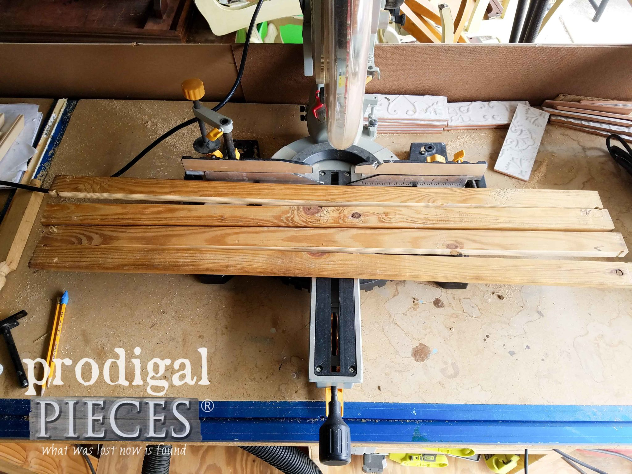 Cutting Wood Slats with Table Saw and Miter Saw for Upcycled Louver Doors | Prodigal Pieces | prodigalpieces.com