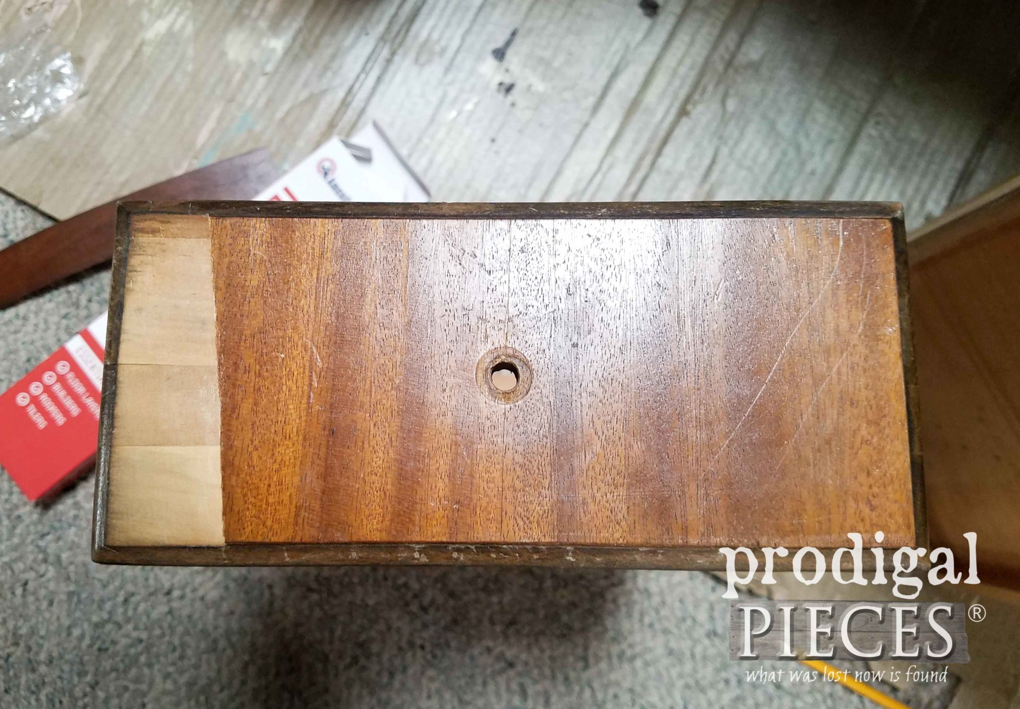 Damaged Antique Vanity Drawer Veneer | prodigalpieces.com