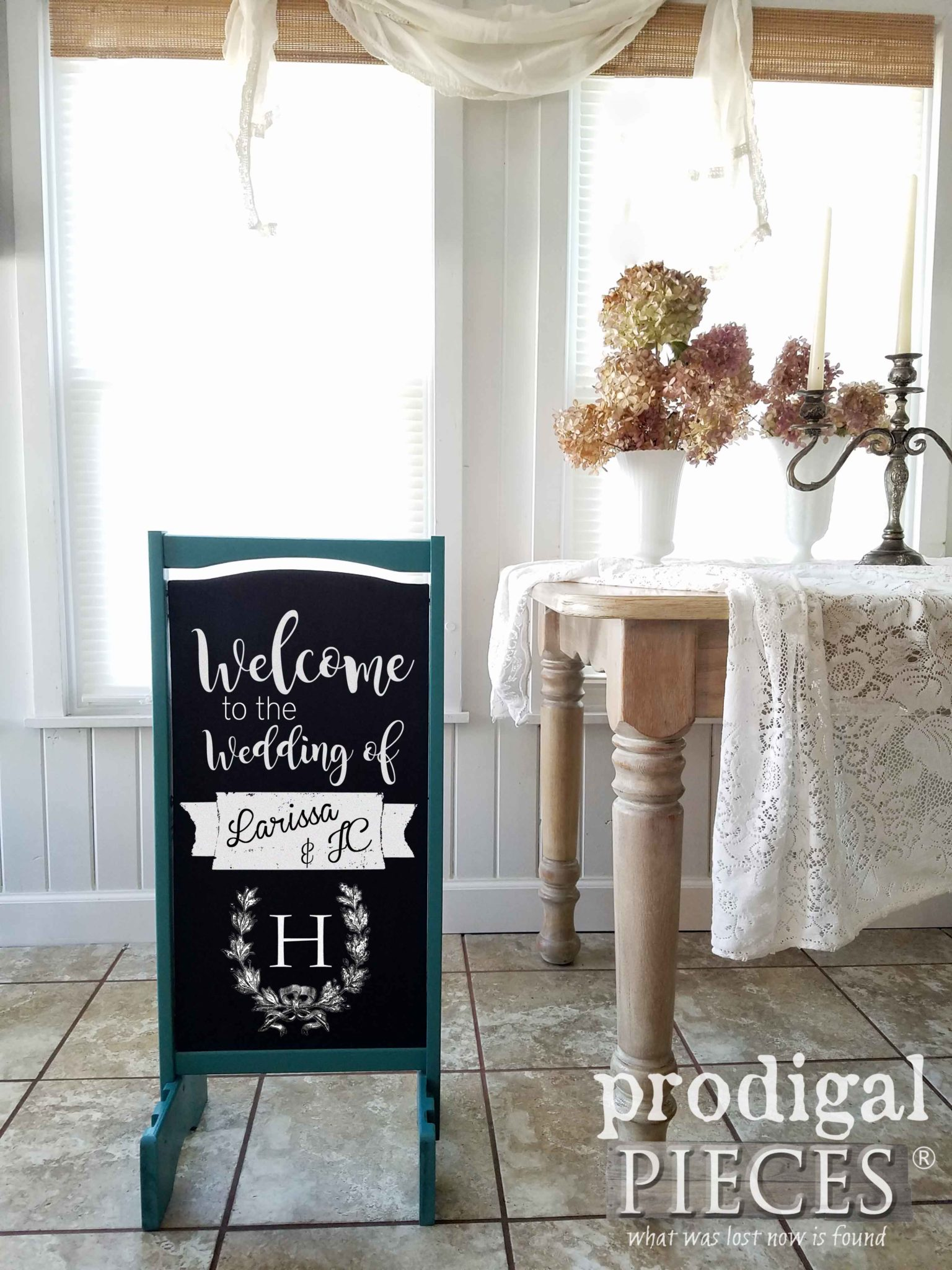 DIY Wedding Chalkboard Sign from Repurposed Items by Larissa of Prodigal Pieces   prodigalpieces.com