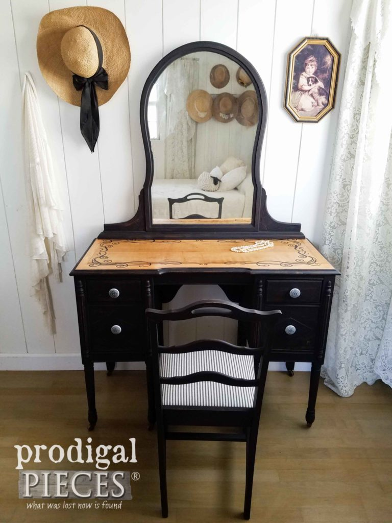 Farmhouse Style Black Antique Dressing Table with Coordinating Chair by Larissa of Prodigal Pieces | prodigalpieces.com