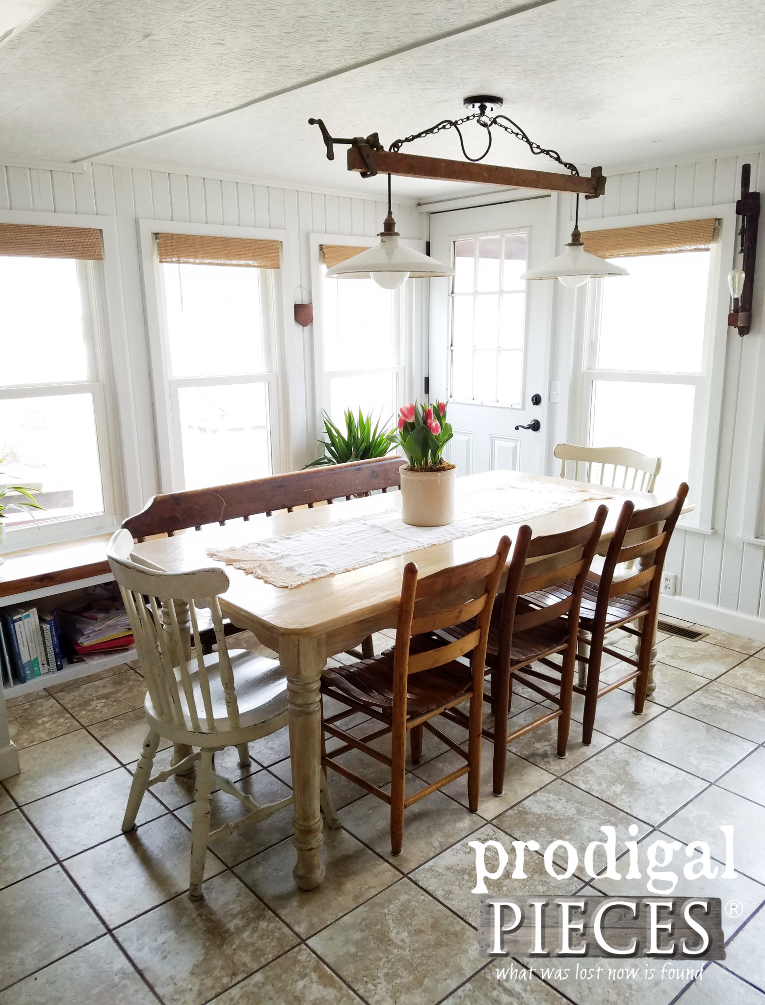 Farmhouse Dining Room with Eclectic Seating and Repurposed Lighting by Larissa of Prodigal Pieces | prodigalpieces.com