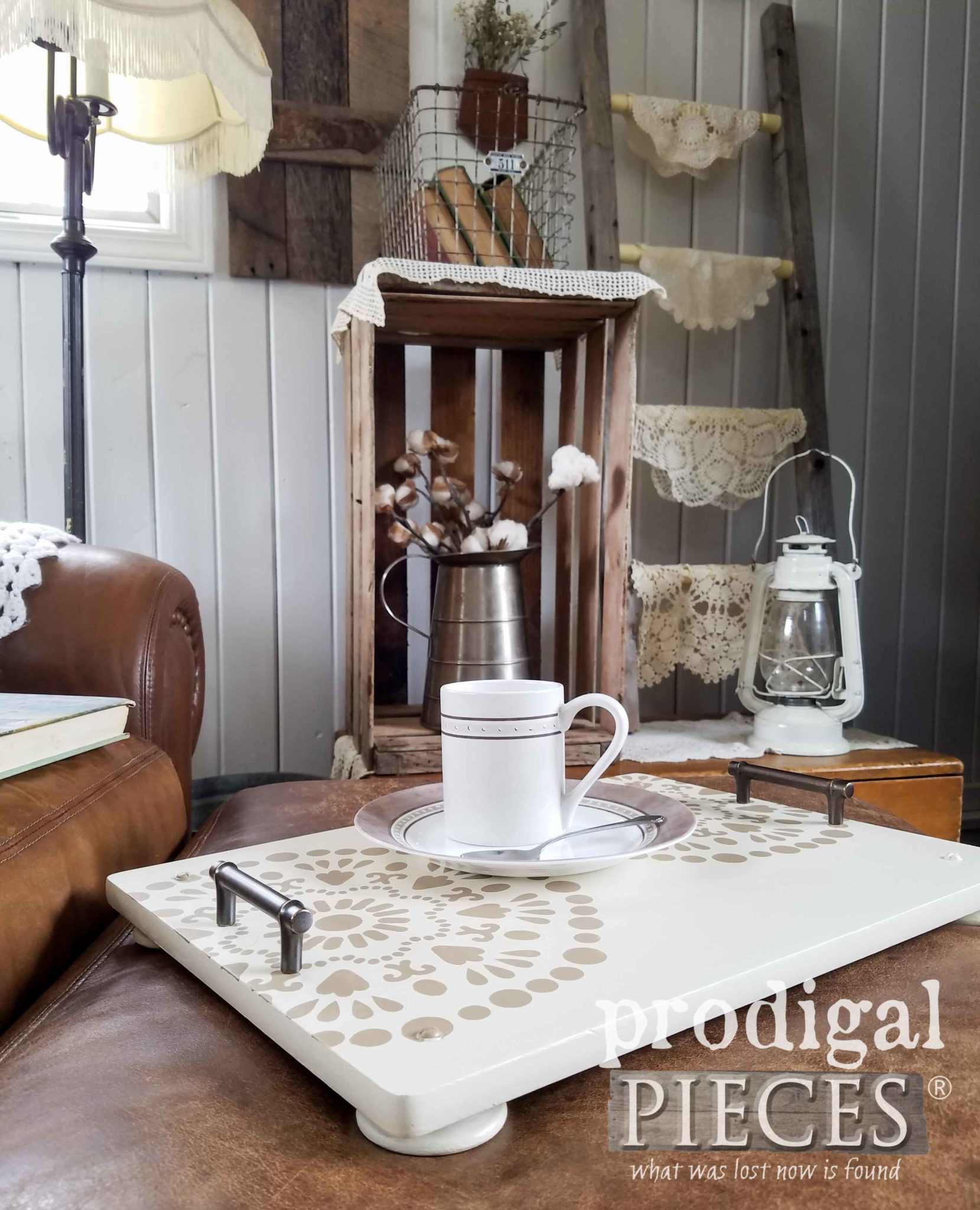 Farmhouse Footed Serving Tray Created by Larissa & Son of Prodigal Pieces | prodigalpieces.com