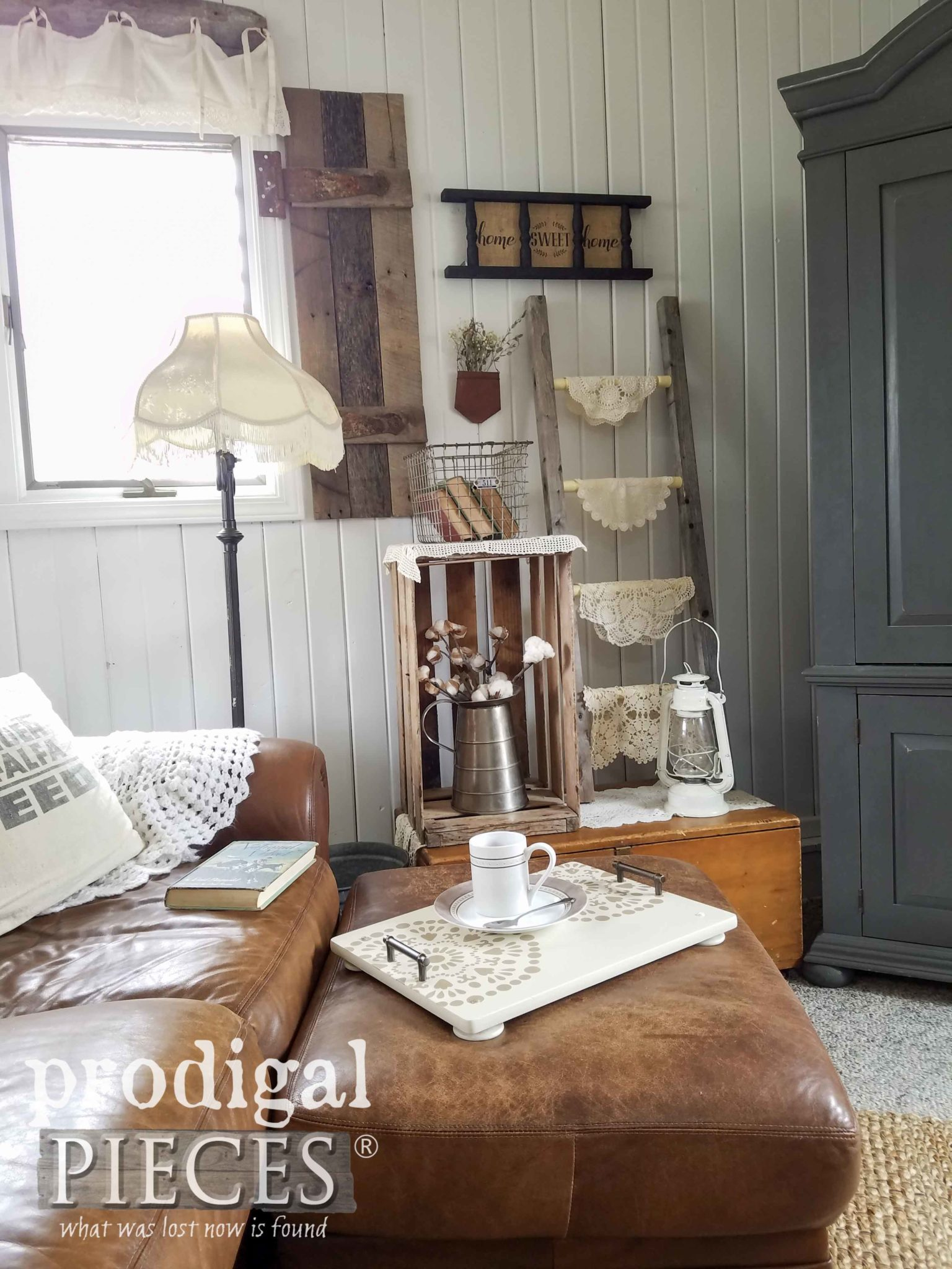 Farmhouse Style Living Room Filled with Repurposed Home Decor by Larissa & Son of Prodigal Pieces | prodigalpieces.com