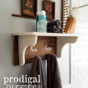 Farmhouse Coat Towel Rack with Shelf by Prodigal Pieces | prodigalpieces.com