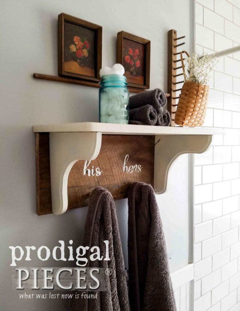 Farmhouse Coat Towel Rack with Shelf by Prodigal Pieces | prodigalpieces.com