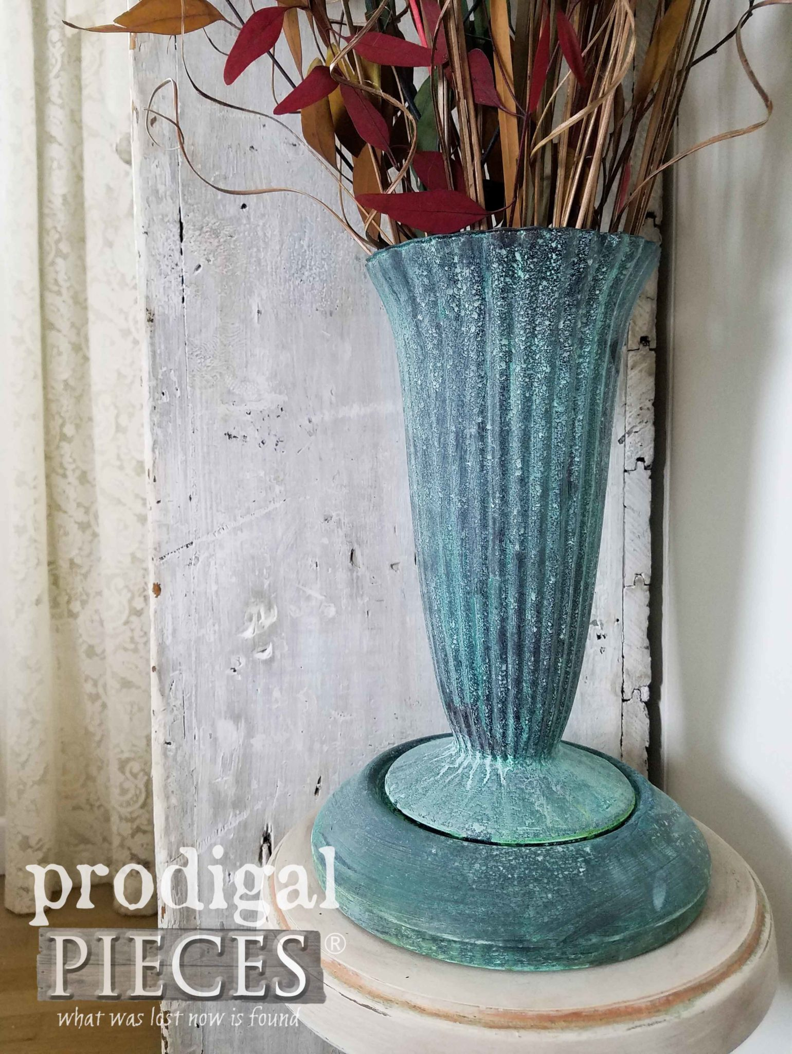 Faux Bronze Patina Painted on Glass Vase and Base by Larissa of Prodigal Pieces | prodigalpieces.com