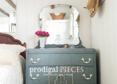 Featured Art Deco Waterfall Dresser with Mirror by Prodigal Pieces | prodigalpieces.com