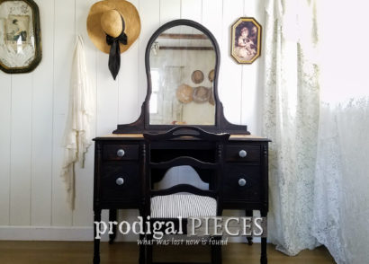 Featured Black Antique Vanity Set by Larissa of Prodigal Pieces | prodigalpieces.com