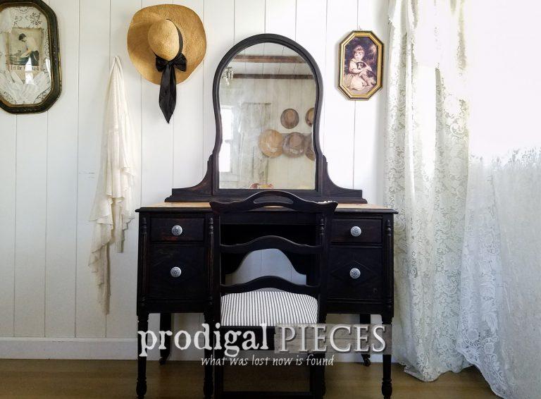 Featured Black Antique Vanity Set by Larissa of Prodigal Pieces | prodigalpieces.com