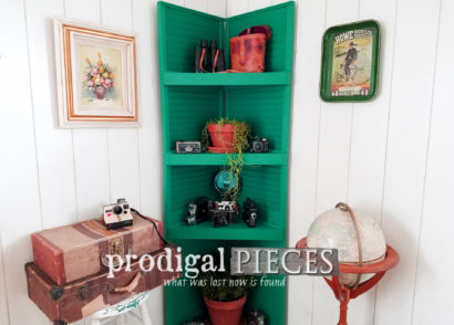 Featured Upcycled Louver Doors into Louvered Corner Shelf by Prodigal Pieces | prodigalpieces.com