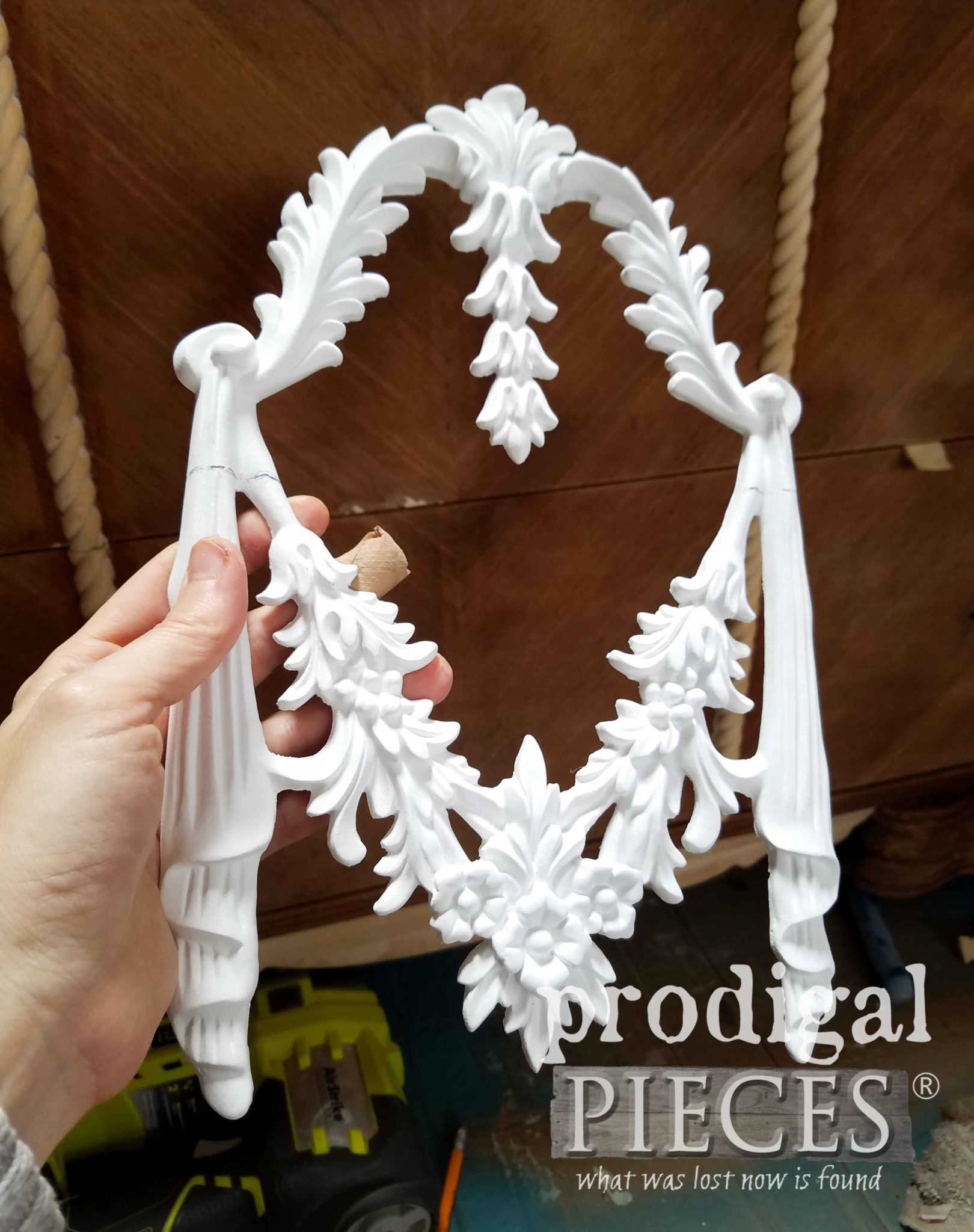 Decorative Applique used to Dress Up a Vintage Waterfall Dresser | prodigalpieces.com