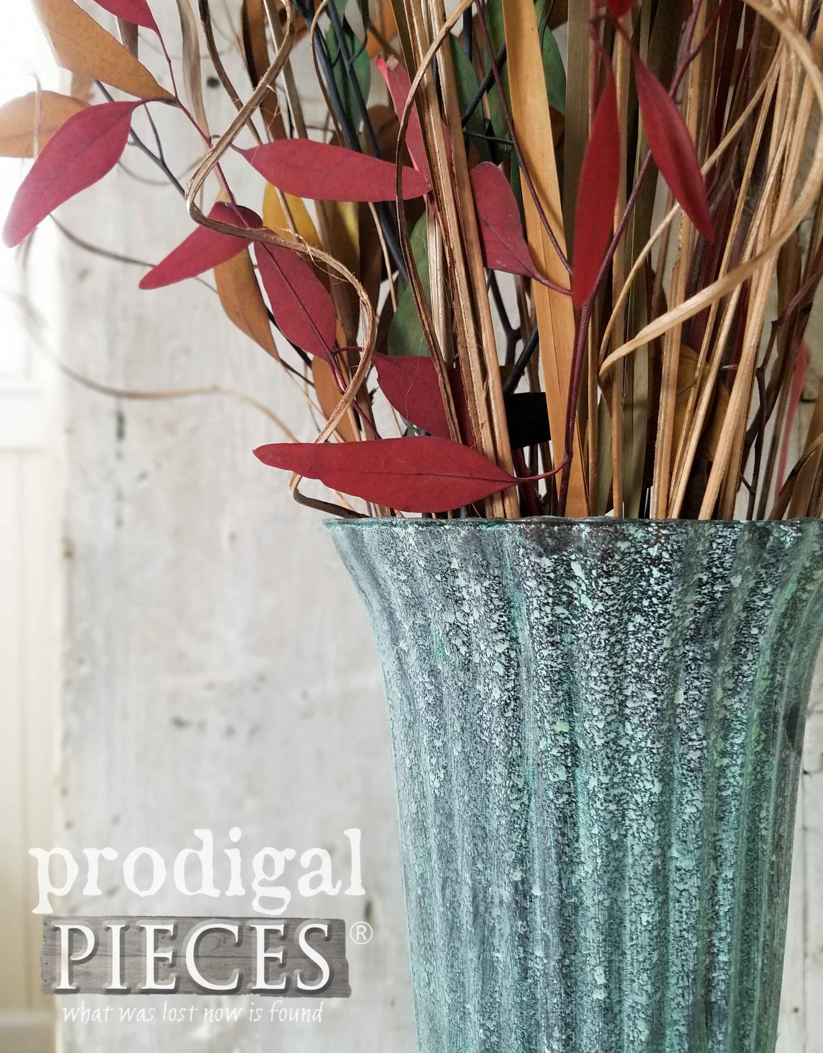 Bronze Patina Paint with Green Patina on Glass Vase by Larissa of Prodigal Pieces | DIY details at prodigalpieces.com