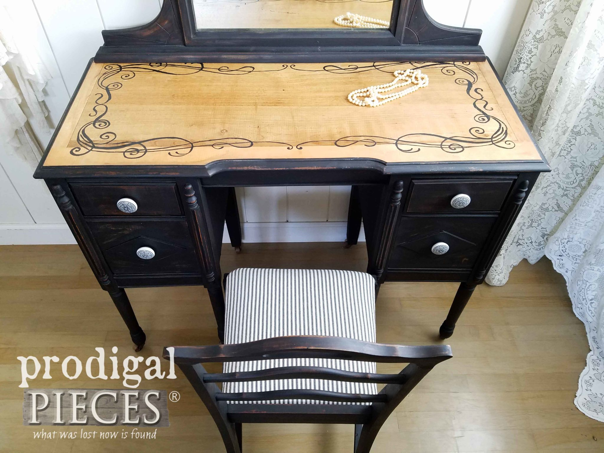 Hand Painted Antique Vanity Detail with Scrollwork Design by Larissa of Prodigal Pieces | prodigalpieces.com