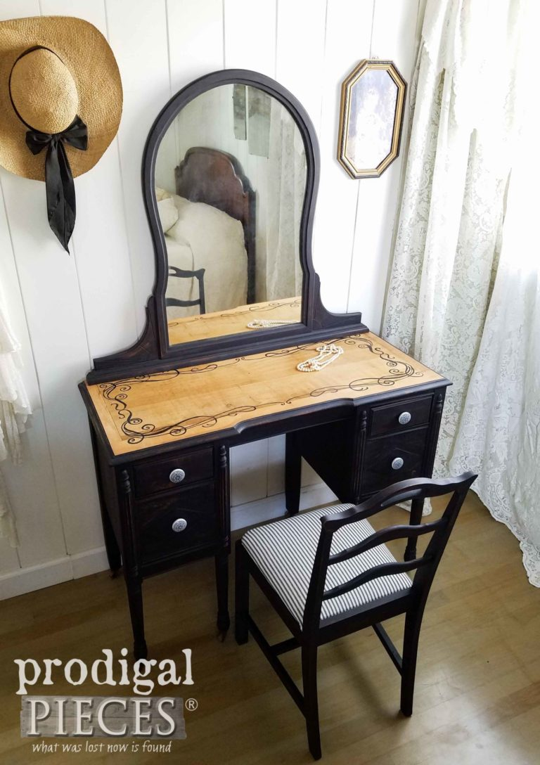Hand-Painted Black Antique Vanity with Farmhouse Ticking Upholstered Chair by Larissa of Prodigal Pieces | prodigalpieces.com