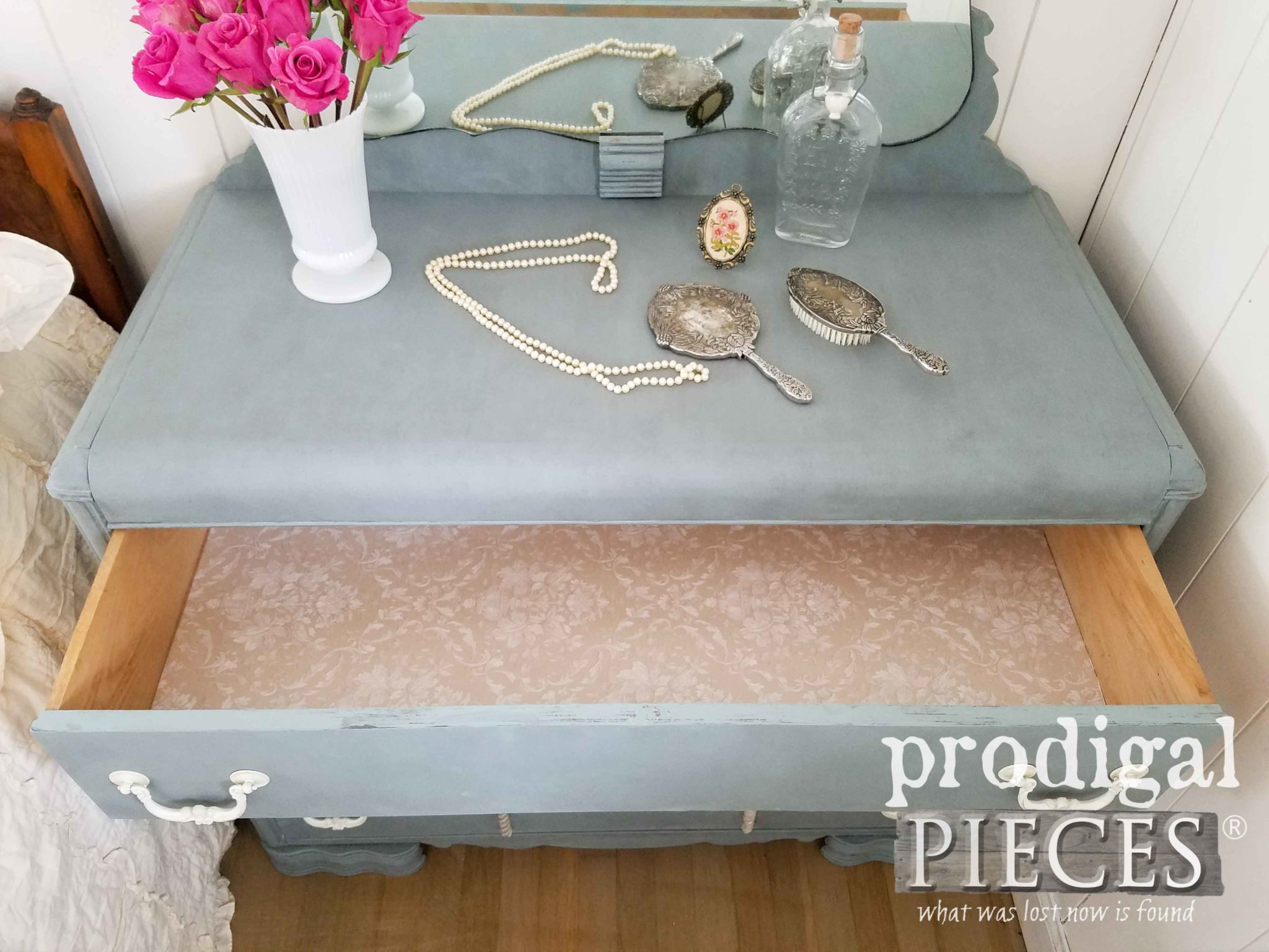 Vintage Art Deco Mirrored Dresser with Paper Lined Drawers by Prodigal Pieces | prodigalpieces.com