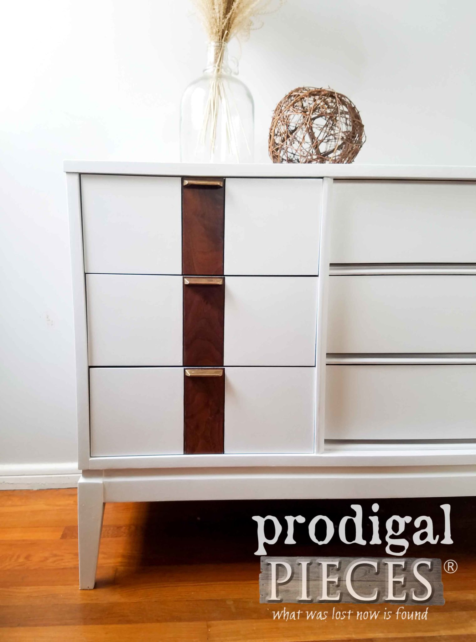 Mid Century Modern Dresser in White with Stain Accents and Original Brass Pulls by Larissa of Prodigal Pieces | prodigalpieces.com